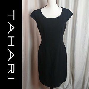 Tahari Size 4 Solid Black Midi Dress